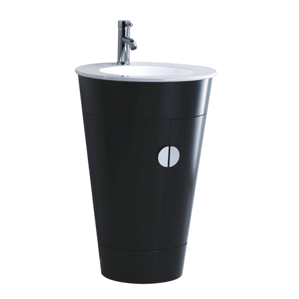Floor standing vanity unit round white ceramic 1 tap hole basin black gloss ebay - Bathroom cabinets black gloss ...
