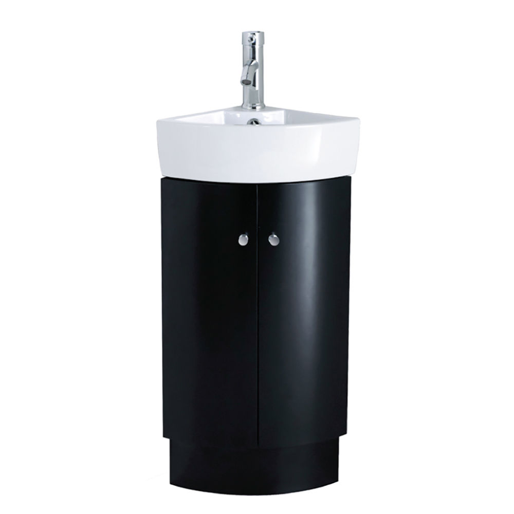 310mm Bathroom Designer Black Floor Standing Corner Vanity