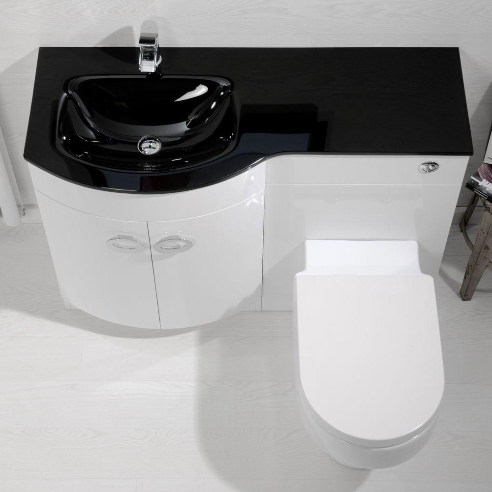 M Left Hand Vanity Unit With Black Glass Basin