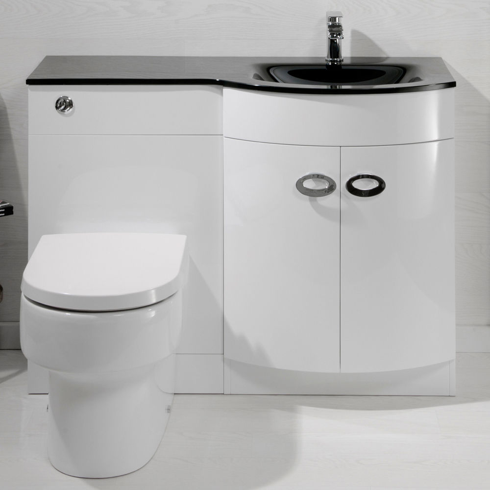 Black Glass Basin Back To Wall Toilet Combination