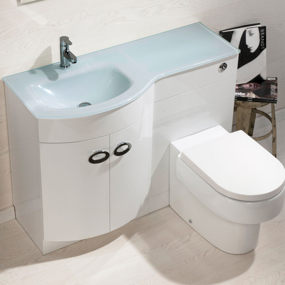 Bathroom Cabinet Back To Wall Toilet Basin Sink Suite Combi Vanity Unit Emp20007 Ebay