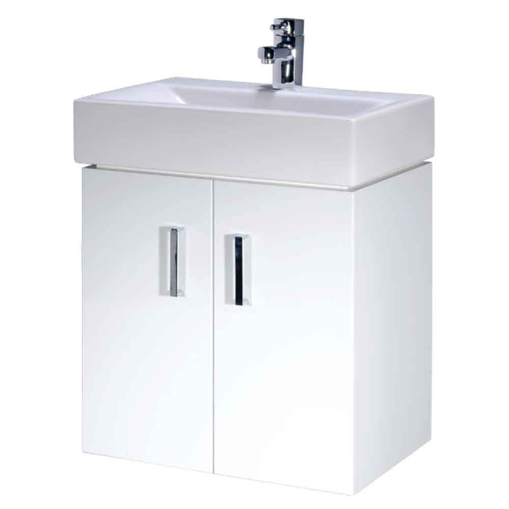 Checkers 450mm Bathroom Wall Mounted Vanity Unit White Ceramic Basin Sink EBay