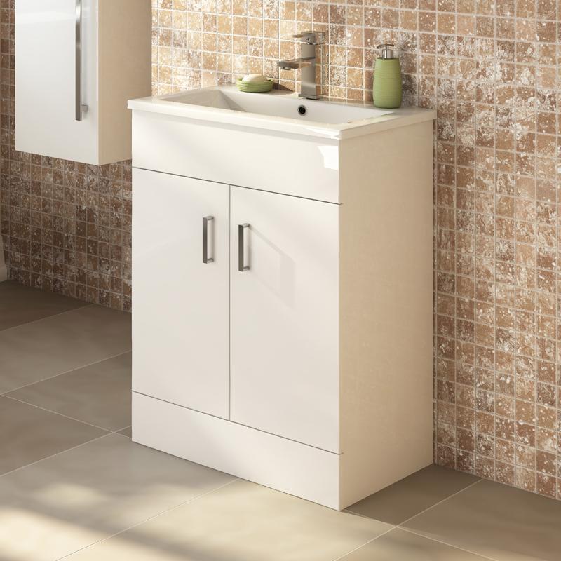 Bathroom Floor Standing Vanity Units : Ice mm bathroom floor standing vanity unit white