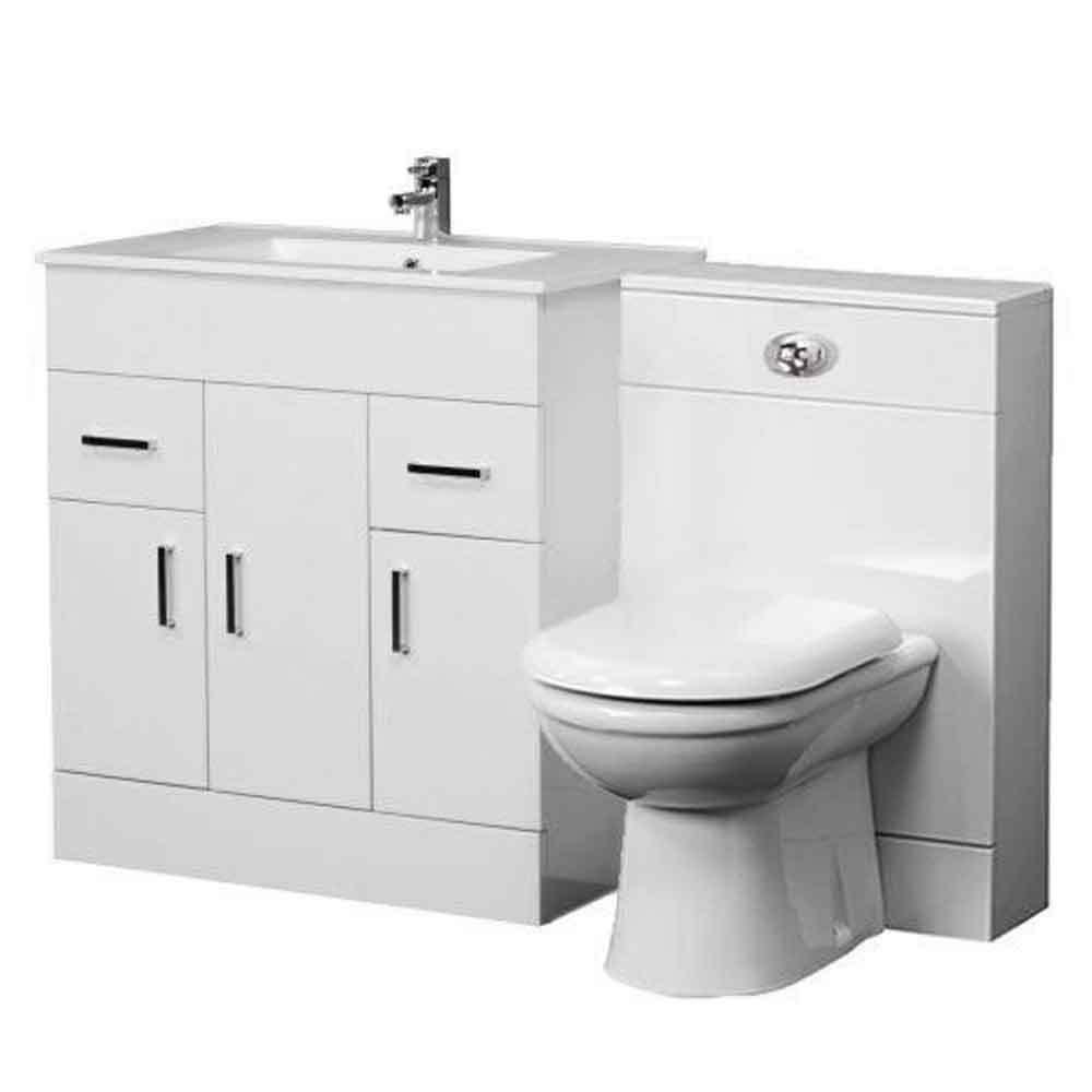 1300mm Bathroom Vanity Unit Back To Wall Toilet Basin Sink Suite ICE21020