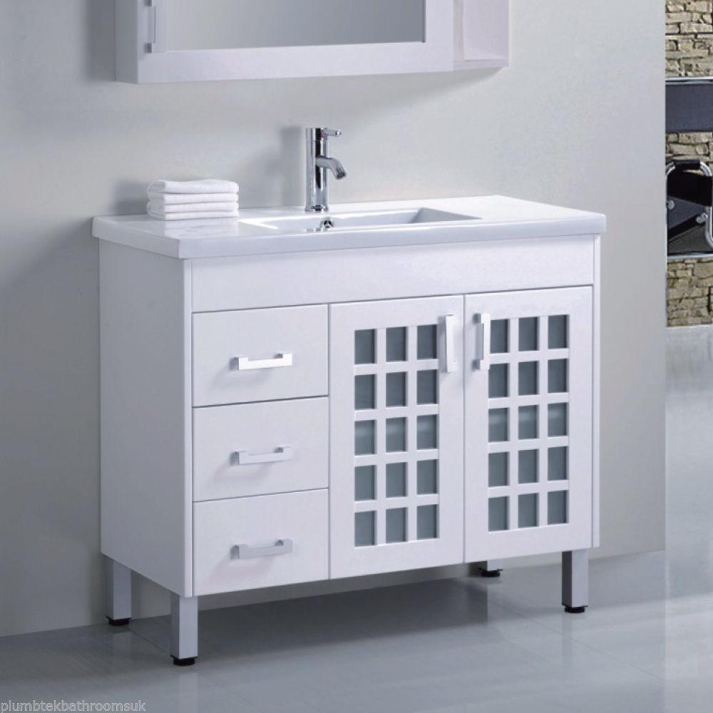Bathroom Floor Standing Vanity Units : Mm designer bathroom floor standing vanity unit white