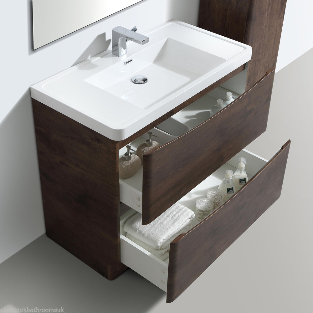 900mm designer chestnut bathroom floor standing vanity for Floor standing bathroom furniture