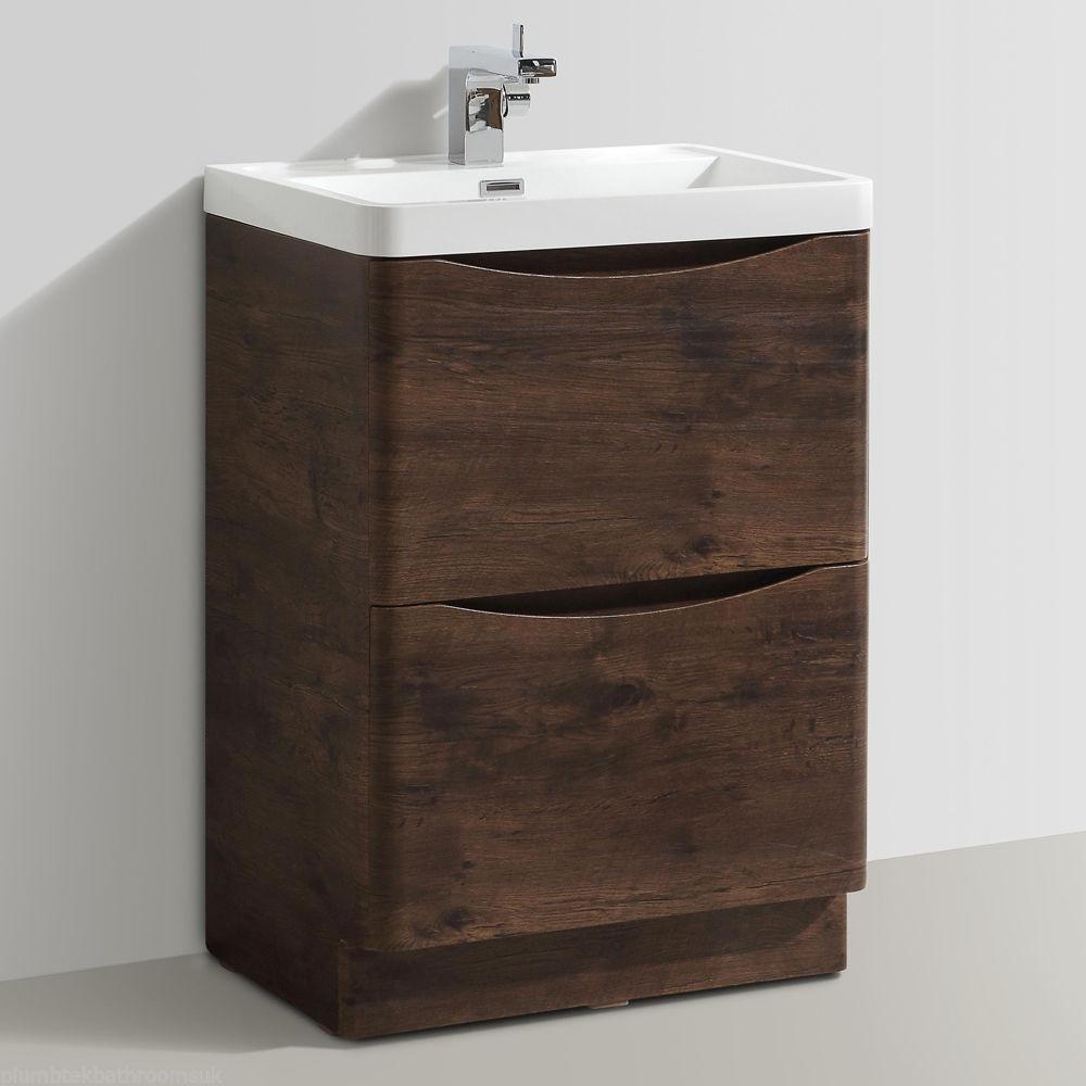 600mm designer chestnut bathroom floor standing vanity - Designer vanity units for bathroom ...