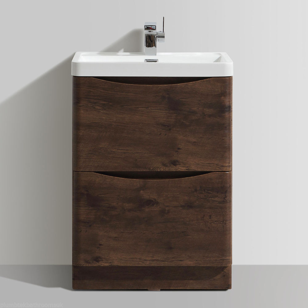 600mm designer chestnut bathroom floor standing vanity for Floor standing bathroom furniture