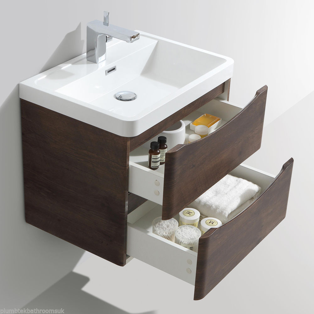 600mm designer chestnut bathroom wall hung vanity unit - Designer wall hung bathroom vanity units ...