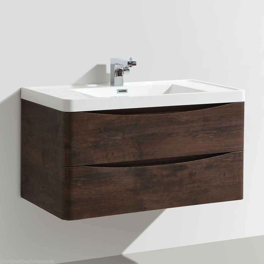 900mm designer chestnut bathroom wall hung vanity unit furniture basin