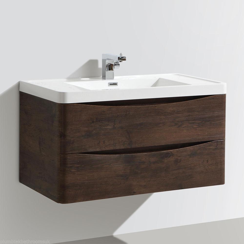 900mm Designer Chestnut Bathroom Wall Hung Vanity Unit Furniture Basin Ebay