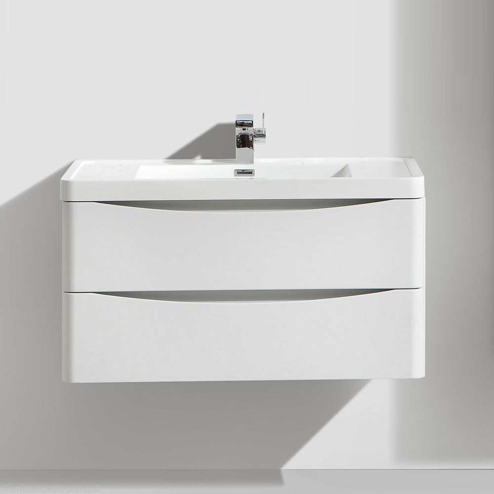 900mm designer white ash bathroom wall hung vanity unit - Designer wall hung bathroom vanity units ...