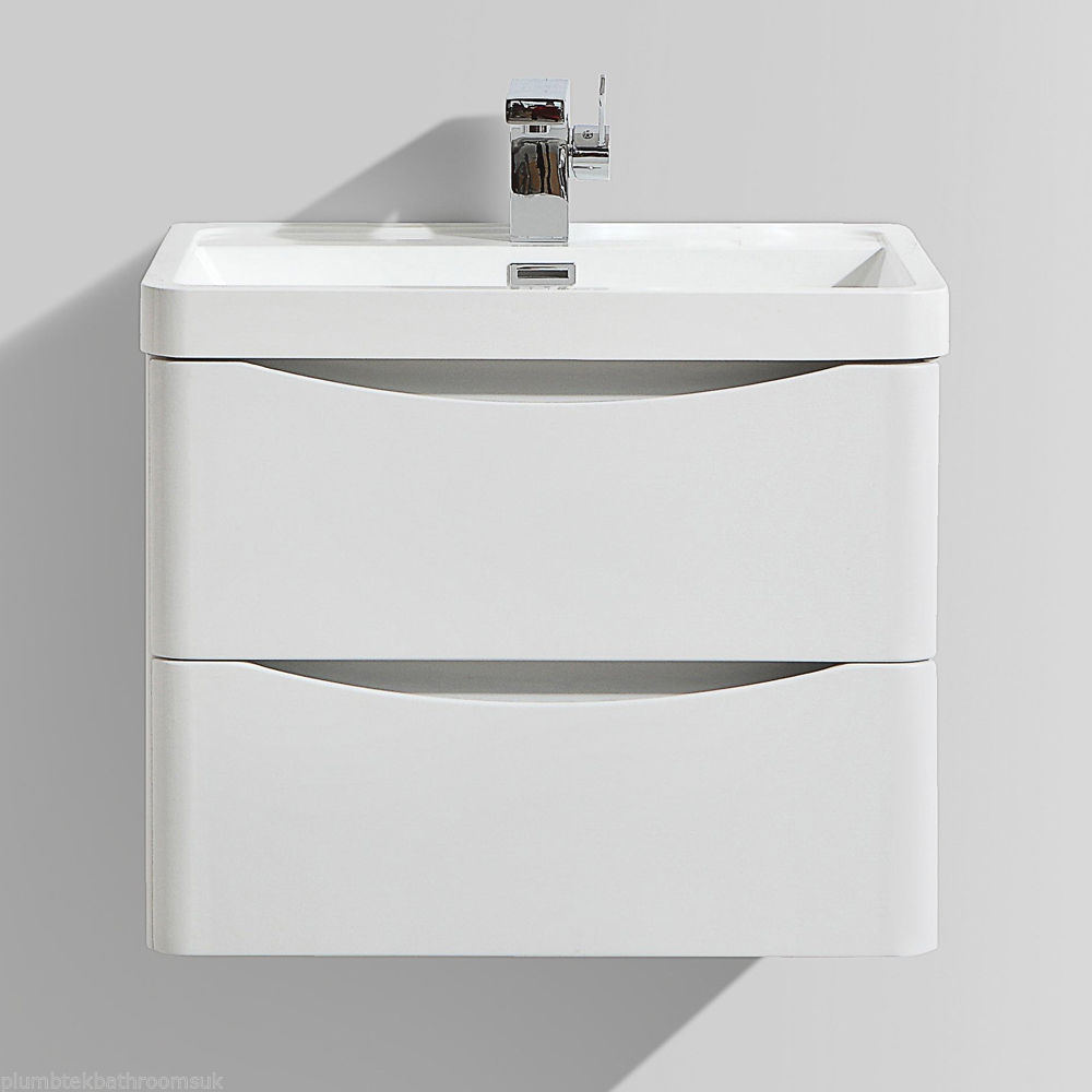 600mm designer white ash bathroom wall hung vanity unit - Designer wall hung bathroom vanity units ...
