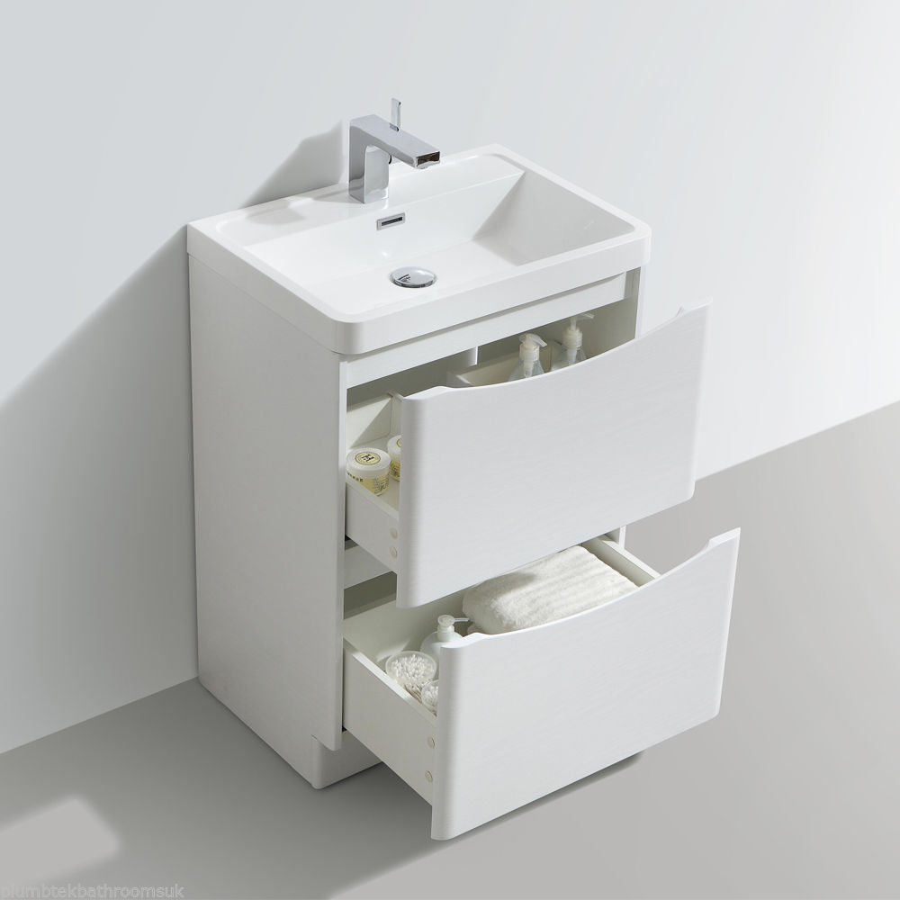 600mm designer white ash bathroom floor standing vanity for Floor standing bathroom furniture