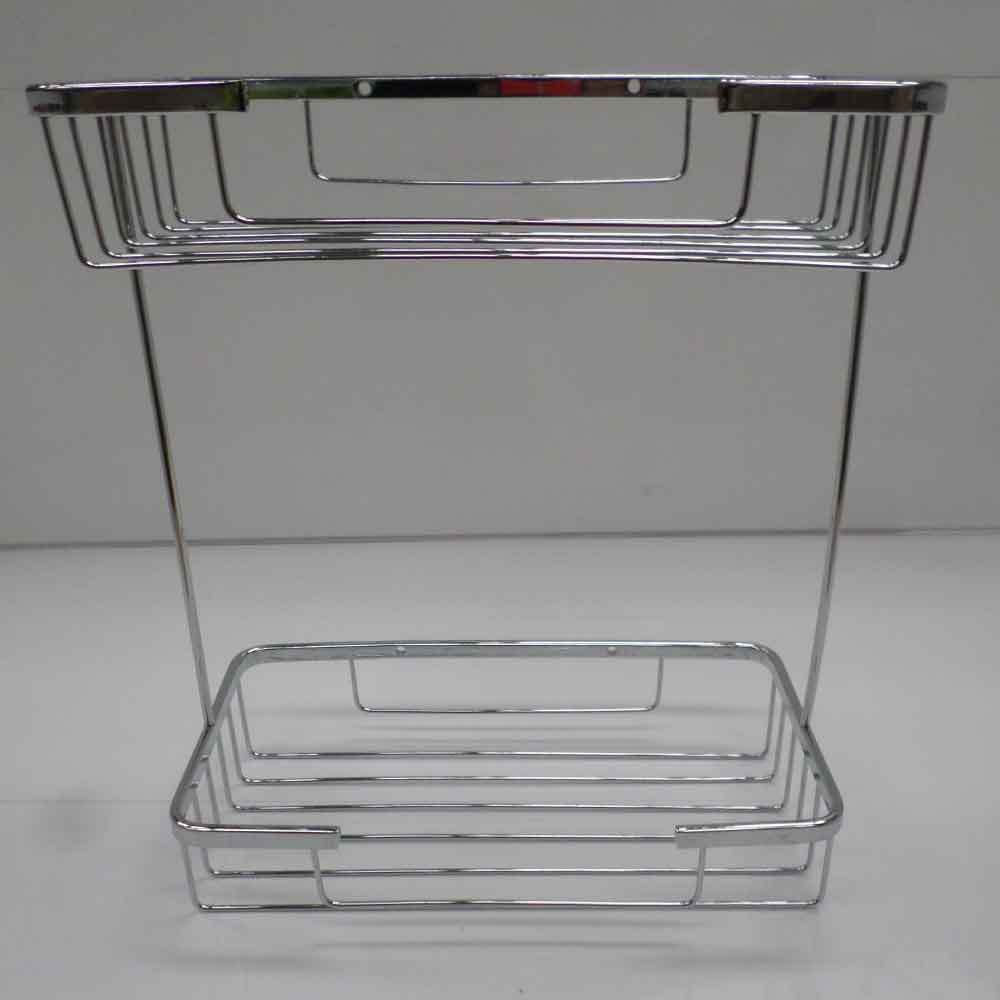 Two tier soap shower basket bathroom chrome wire work for Basket bathroom accessories