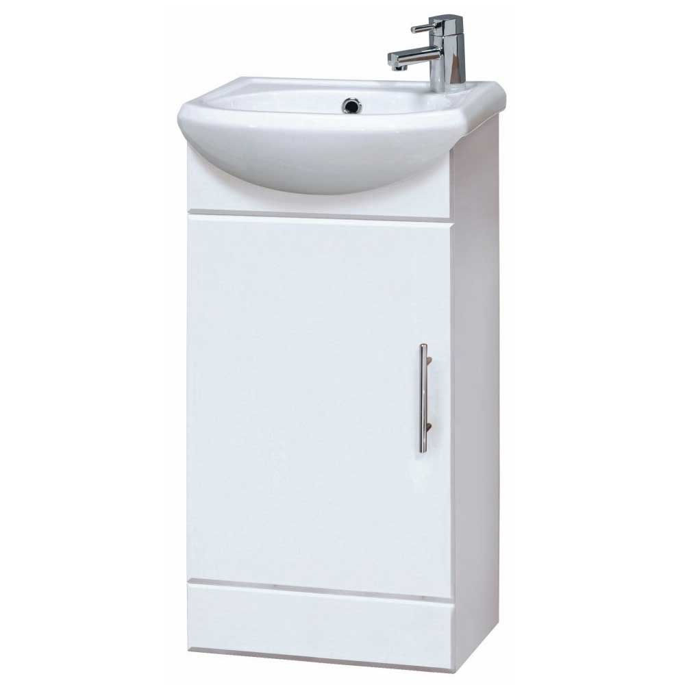 Bathroom cloakroom compact white gloss vanity unit cabinet for White gloss bathroom vanity unit
