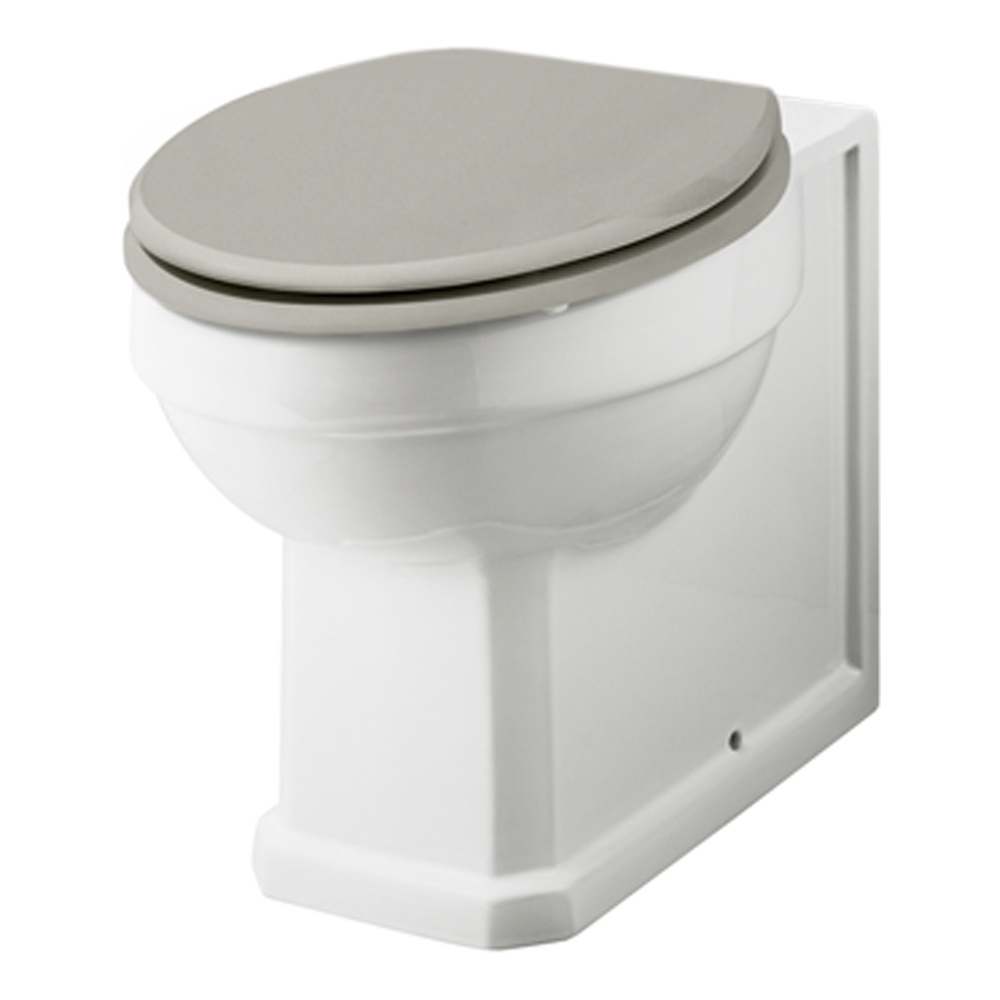 Old London Back To Wall WC Pan White Ceramic Stone Grey Soft Close Seat