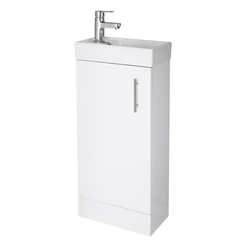 White Bathroom Vanity Unit Ceramic Basin Sink Storage Cabinet En Suite NVX192