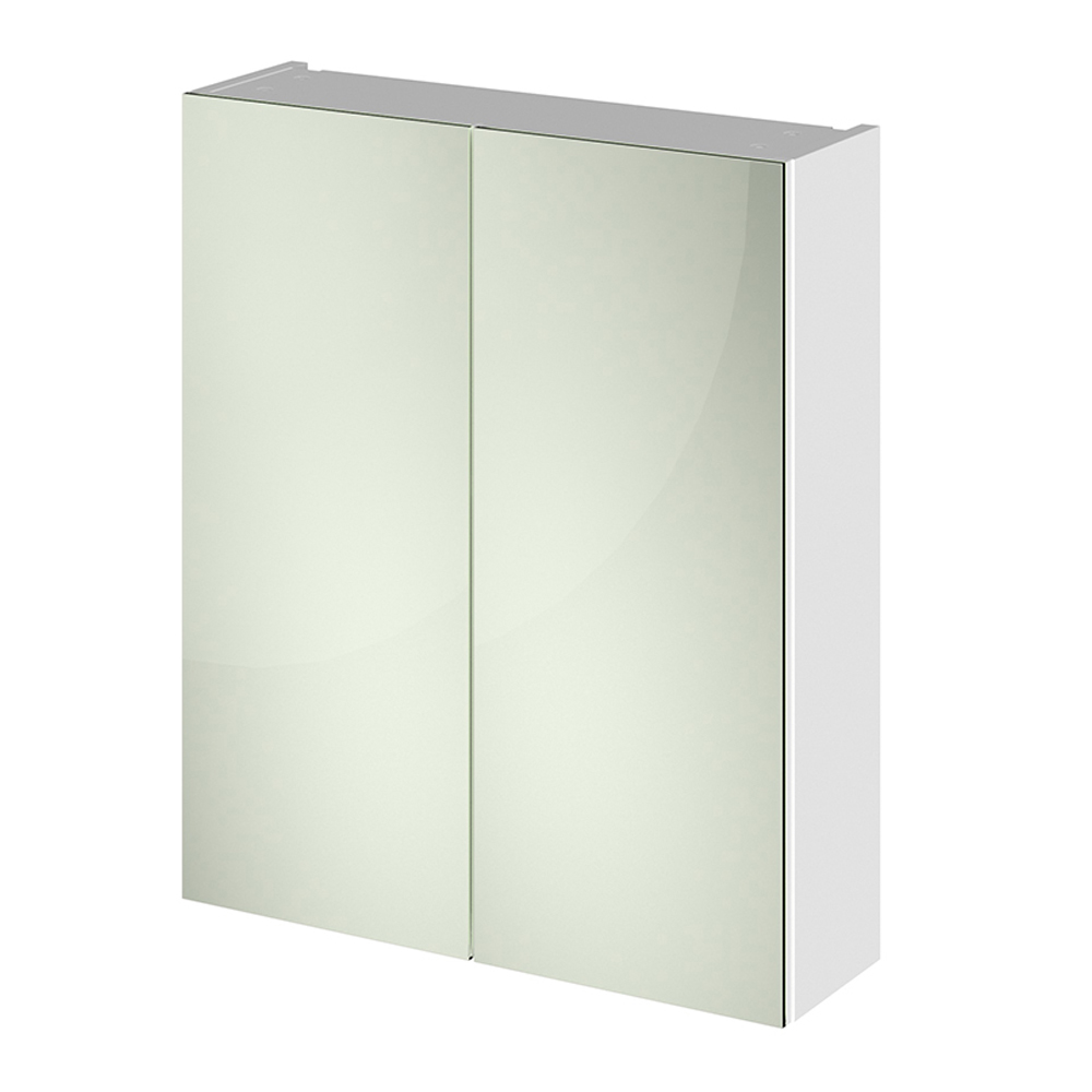 hudson reed white gloss bathroom mirror cabinet unit 50 50 split