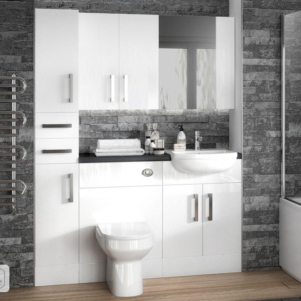 hudson reed white gloss bathroom mirror cabinet unit 50 50