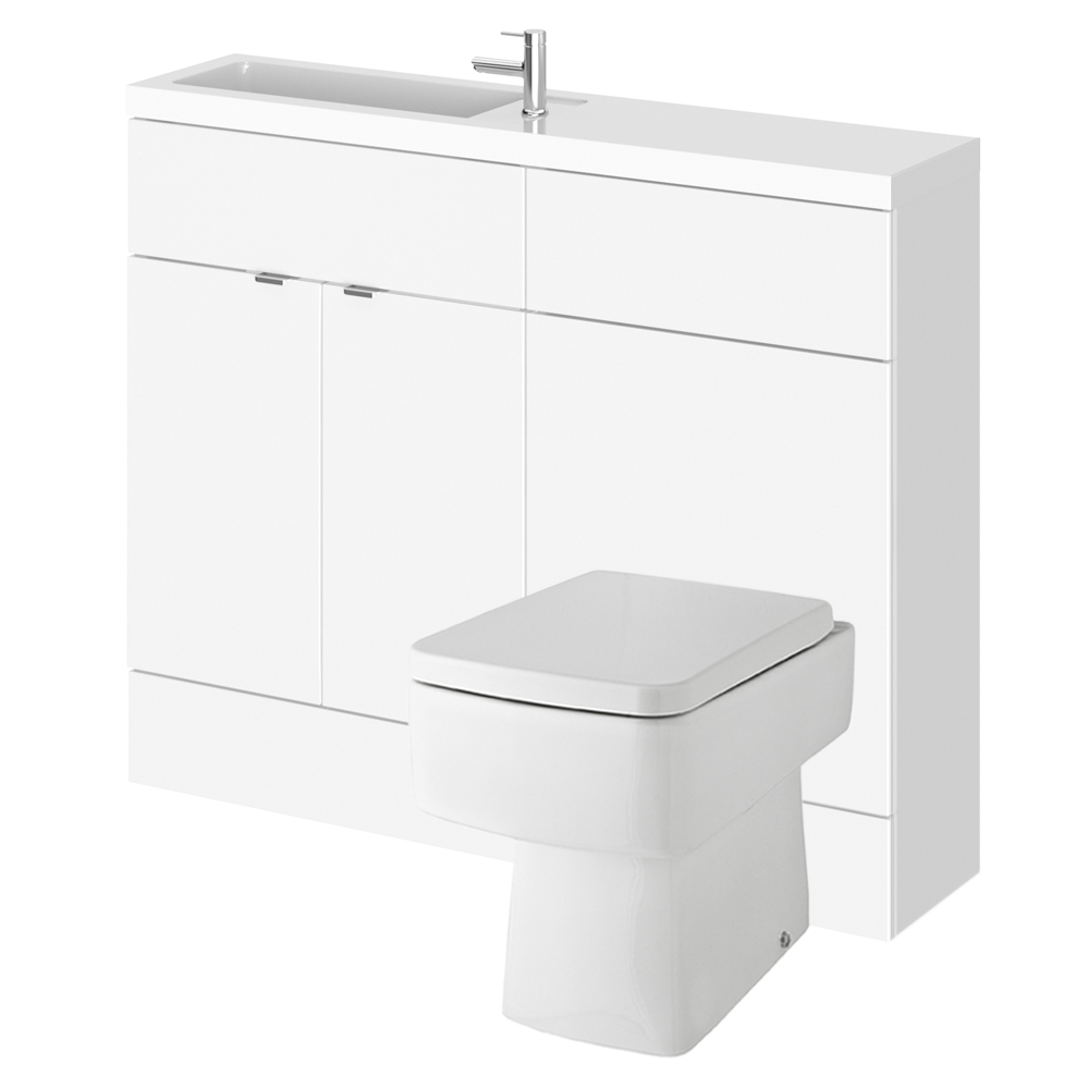 Bathroom cabinet back to wall toilet basin sink suite for Bathroom cabinets 500mm wide